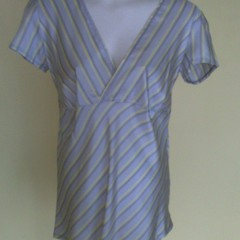 Grey and yellow striped polyester top