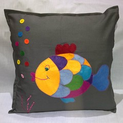 Applique Fish Cushion Cover