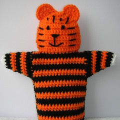 Tiger Puppet - handmade crochet toy - ready to post