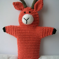 Goat Puppet - handmade crochet toy - ready to post