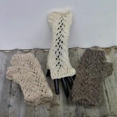 Lacy Fingerless Gloves- Hand Knit - Handspun