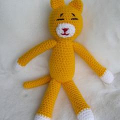 Cat - crochet YELLOW kittie - handmade soft toy - ready to post