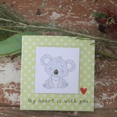 Koala Card My Heart is with You Inspirational Card Spark Joy Card Mindful Card