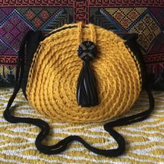 Crochet Shoulder Bag - Mustard & Black