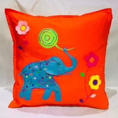 Elephant Applique Cushion Cover