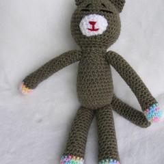 Cat - crochet GREY kittie - handmade soft toy - ready to post