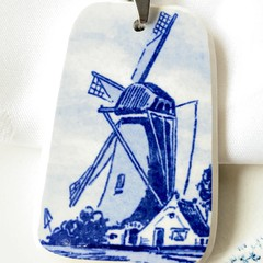 Extra Large Delft-inspired Blue Windmill pendant