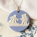 Wedgwood blue on Sterling Silver