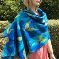 silk wrap, nuno felted, Aussie superfine merino silk  blue green wrap
