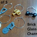 WINE CHARMS - Novelty Brick Glass Charm Sets