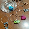 WINE CHARMS - Novelty Brick Glass Charm Sets