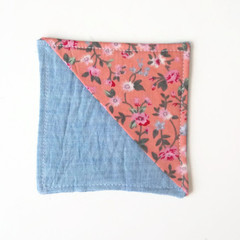 Fabric Corner Bookmark-  Blue and Pink Flowers
