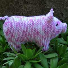 Pig - mottled coloured pink piggy - Hand knitted soft toy - ready to post