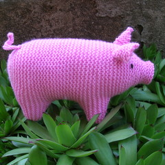 Pig - dark pink piggy - Hand knitted soft toy - ready to post