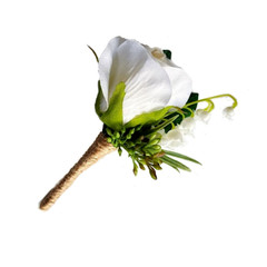 Buttonhole - Ivory Silk Rose with Lily of the Valley for Groom Groomsman Father