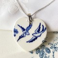 "Blue Willow ""Swallows"" Heart pendant"