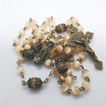 Rosary 6mm peach catseye beads in bronze base