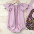 Romper - Dusty Pink - Cotton - Baby Girls - Retro - sizes 000-2