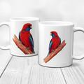 Crimson Rosella Ceramic Art Mug, Watercolour art on a mug, 11 oz Art Coffee Mug