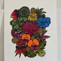 Australian Wildflowers - Wildflowers 4/25 - Linoprint and Watercolour