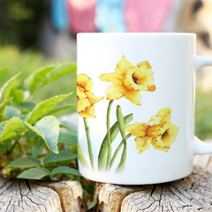 Daffodils Ceramic Art Mug, Watercolour art on a mug, 11 oz Art Coffee Mug,