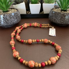 Red Coral & Wooden Beaded Long Necklace