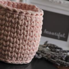 Crochet basket, recycled t-shirt yarn - planter size.