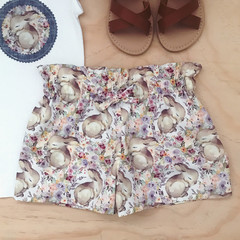 Sizes 3-6 -  Shorties - Cream Bunnies - Shorts -Easter -