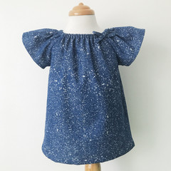 Smock Top - Paint Splats - Tencel - Denim - Soft