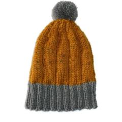 Children's mustard and grey woollen hand knitted beanie with pom pom 3-7 years.