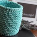 Crochet basket, decorative timber base - planter size.
