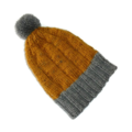 Children's mustard and grey woollen hand knitted beanie with pom pom 3-7 years.