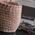 Crochet basket, recycled t-shirt yarn - planter size.