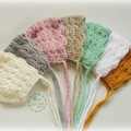 Vintage Hand Crocheted  Baby Bonnet Beanie Hat Photo Prop 0-3 months