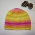 Child's Pink and Yellow Knitted hat for 5-10 year old