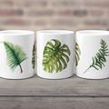 Monstera Fern and Palm Leaves Ceramic Art Mug, Watercolour, 11 oz Art Coffee Mug