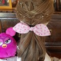 """""""Pink with Pink Flowers"""" Girls Hair Bow Elastic"""