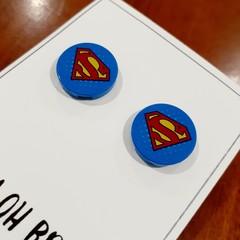 Super Hero Logo Brick Stud Earrings
