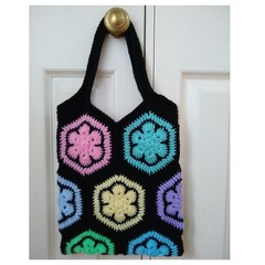 Crochet Tote Bag - Flower Patches