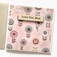 Personalised Mother's Day Card, 16 Names to Choose From, Pink & Wood Custom