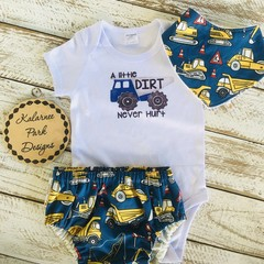 """A Little Dirt Never Hurt"" Onesie Set Baby Boy"
