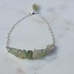 Natural Green Aquamarine Gemstone Dainty Minimalist Floating Silver Bracelet