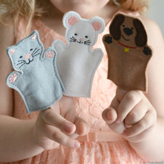 Finger Puppet Set Dog Cat and Mouse