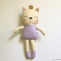 Calico Kitty Cat Doll Purple Polka Dot with Gold Glitter Crown