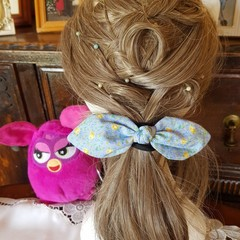 """""""Blue with Yellow Roses"""" Girls Hair Bow Elastic"""