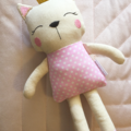 Calico Kitty Cat Doll Pink Polka Dot with Gold Glitter Crown