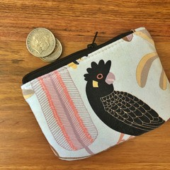 Coin purse - Black Cockatoo on White