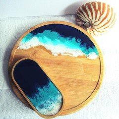 Lazy Susan Resin Ocean themed and Tray