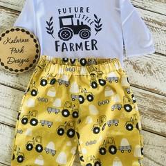 """""""Future Little Farmer"""" Onesie Set Custom Order for Lisa"""