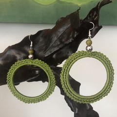 Hand-crocheted Hoop Earrings - Olive Green